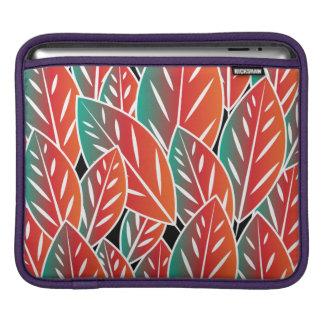 Gebürtiges rotes Flora-Blätter iPad Sleeve