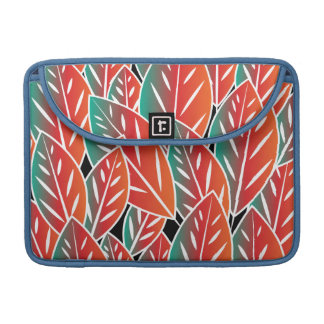 Gebürtiges rotes Flora-Blätter MacBook Pro Sleeve
