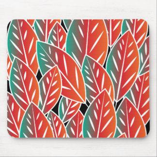 Gebürtiges rotes Flora-Blätter Mousepad