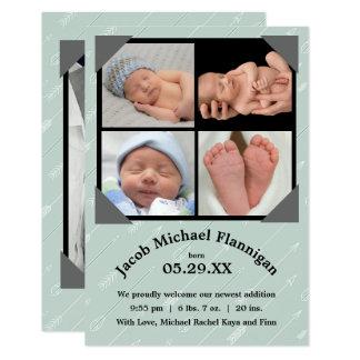 Geburts-Mitteilung der Foto-Collagen-Pfeil--3x5 Karte