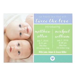 Geburts-Mitteilung - Zwillinge, zweimal die Liebe 12,7 X 17,8 Cm Einladungskarte