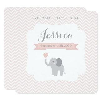 Geburts-Mitteilungs-Mädchen-Elefant-Zickzack Karte