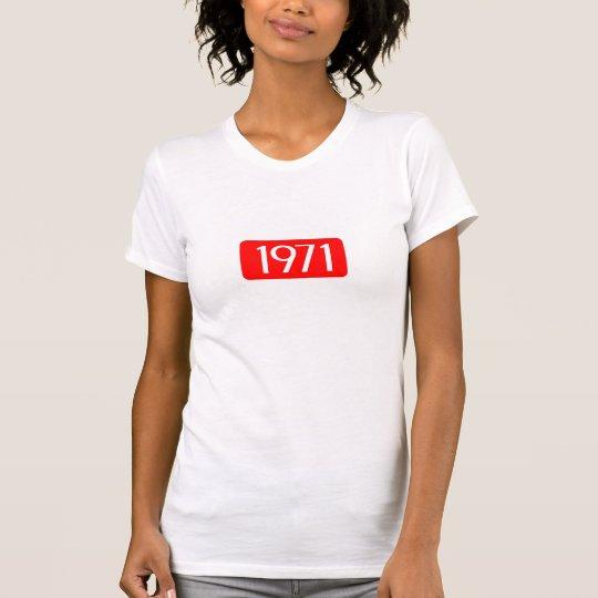 Geburtsjahrtextgeburtstags-Zahlrot 1971 T-Shirt