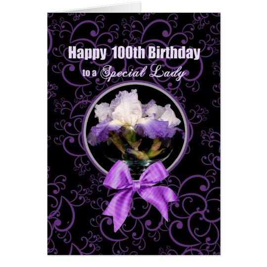 Geburtstag - 100. - spezielle Dame - lila Iris Grußkarte