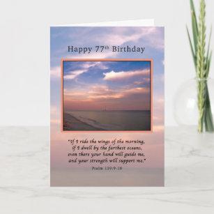 Geburtstag, 77., Sonnenaufgang am Strand, religiö Karte