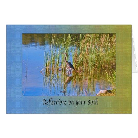 Geburtstag, 80., Tricolored Reiher, Reflexionen Karte