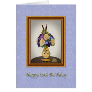 Geburtstag, 85., Blumen in der gelben Vasen-Karte Grußkarte