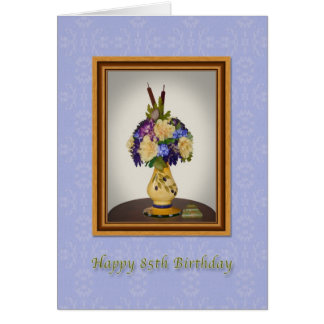 Geburtstag, 85., Blumen in der gelben Vasen-Karte Karte