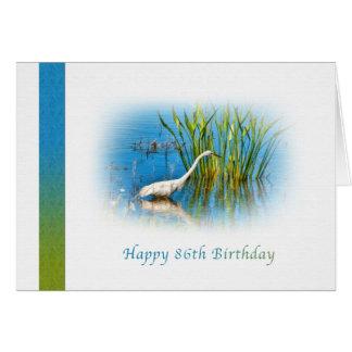 Geburtstag, 86., großer Reiher in dem Teich Grußkarte