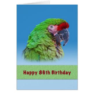 Geburtstag, 86., grüner Papagei Grußkarte