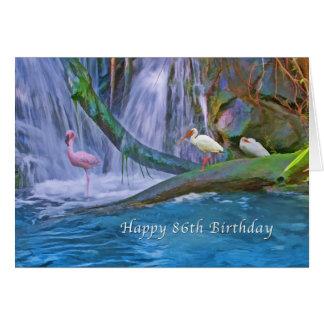 Geburtstag, 86., tropischer Wasserfall, wilde Grußkarte