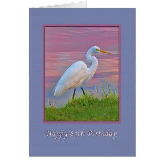 Geburtstag, 87., großer Reiher, der am Karte