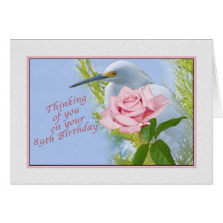 Geburtstag, 89., rosa Rose und Snowy-Reiher-Vogel Grußkarte