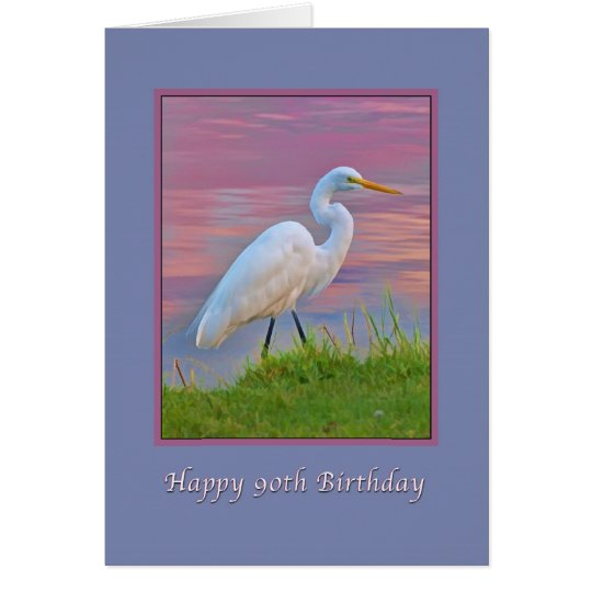 Geburtstag, 90., großer Reiher, der am Karte