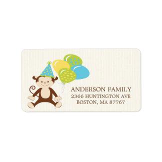 Geburtstag-Affe-Rücksendeadresse-Aufkleber Adressaufkleber