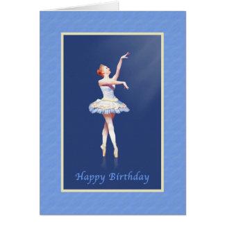 Geburtstag, Ballerina auf Pointe im Scheinwerfer Karte