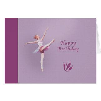 Geburtstag, Ballerina im Rosa und Lavendel Karte