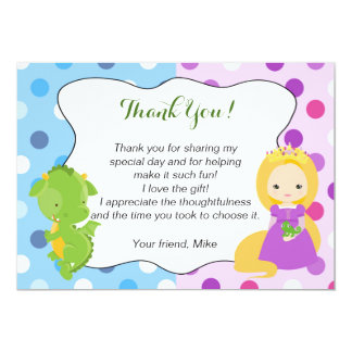 Geburtstag Drache-Prinzessin-Thank You Card Boy 12,7 X 17,8 Cm Einladungskarte