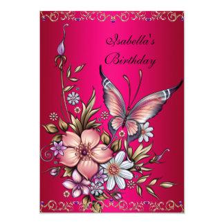 Geburtstag eleganter rosa Fushia 12,7 X 17,8 Cm Einladungskarte