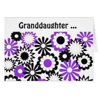 Geburtstag, Enkelin, lila, weiß, Schwarzes Grußkarte