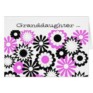 Geburtstag, Enkelin, Rosa, Weiß, schwarz Grußkarte