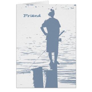 Geburtstag, Freund, Jungenfischen vom Stumpf Karte