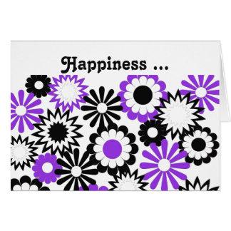 Geburtstag für die alle, lila, weißen u. schwarzen grußkarte