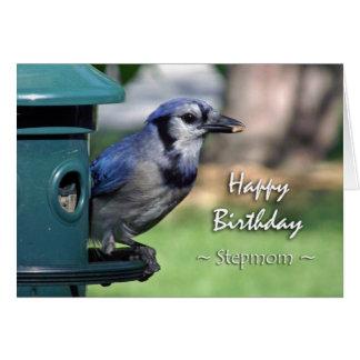 Geburtstag für Stiefmutter, blaues Jay an der Karte