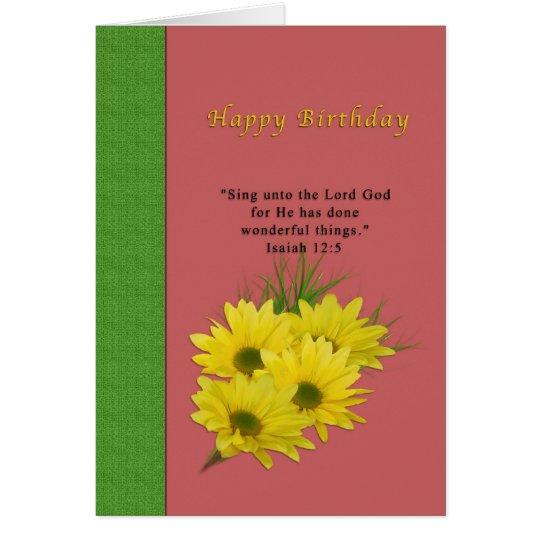 Geburtstag, gelbe Gänseblümchen, religiös Karte