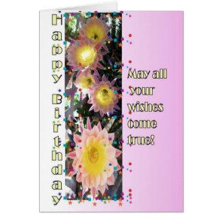 Geburtstag Karte-Kaktus Blumen Karte