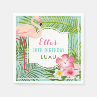 Geburtstag Luau | tropischer Flamingo Papierserviette