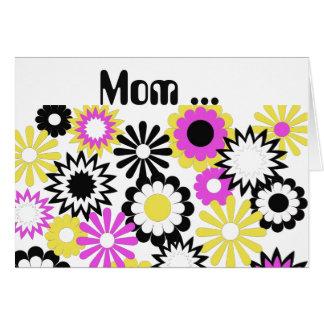 Geburtstag, Mamma, Gelb, Rosa, Weiß, schwarze Grußkarte