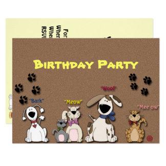 Geburtstag-Party-Einladungs-Katzen u. Hunde Karte