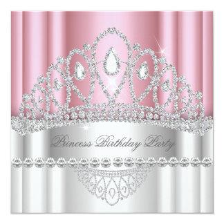 Geburtstag Prinzessin-Light-pink White Diamond Quadratische 13,3 Cm Einladungskarte