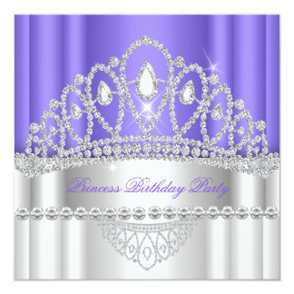 Geburtstag Prinzessin-Purple White Diamond Tiara Quadratische 13,3 Cm Einladungskarte