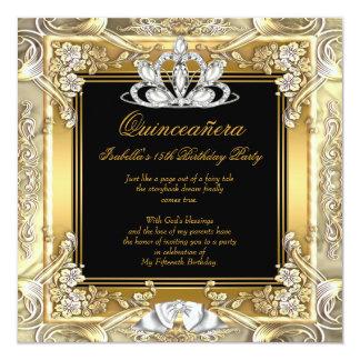 Geburtstag Prinzessin-Quinceanera Gold Black Quadratische 13,3 Cm Einladungskarte