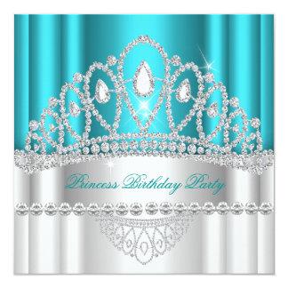 Geburtstag Prinzessin-Teal White Diamond Tiara Quadratische 13,3 Cm Einladungskarte