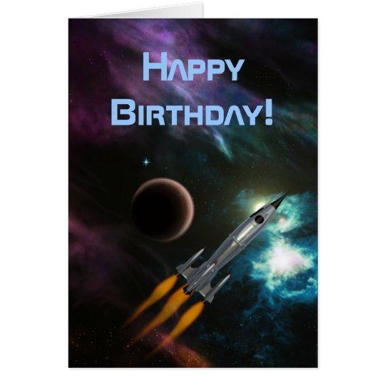 Geburtstag Rocketship Grußkarte