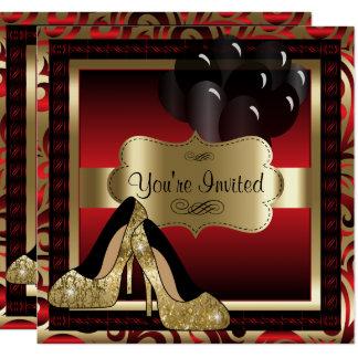 Geburtstag | rot u. Goldhohe Heels-Einladung Karte