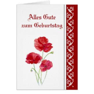 Geburtstag, rote Mohnblumen, Garten-Blumen deutsch Grußkarte