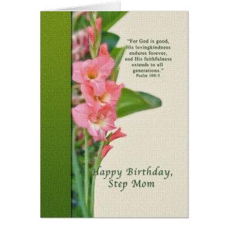 Geburtstag, Schritt-Mamma, rosa Gladiolus Karte