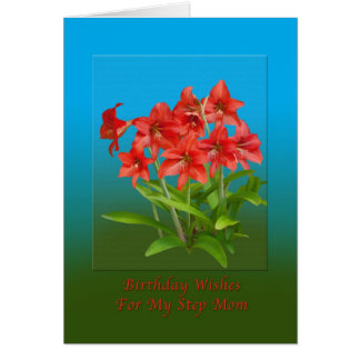 Geburtstag, Schritt-Mamma, rote Tageslilien Karte