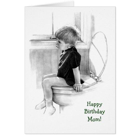 Geburtstag: Sohn zur Mamma: Junge auf Töpfchen, Grußkarte
