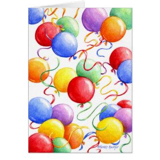 Geburtstag steigt Gruß-Karte im Ballon auf Grußkarte