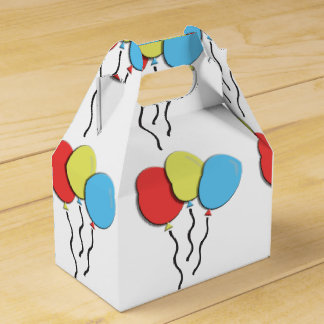 Geburtstag steigt nettes buntes im Ballon auf Geschenkschachtel