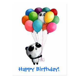 Geburtstag steigt Panda-Bären im Ballon auf Postkarte