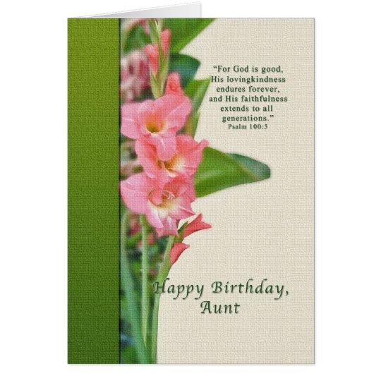 Geburtstag, Tante, rosa Gladiolus Grußkarte
