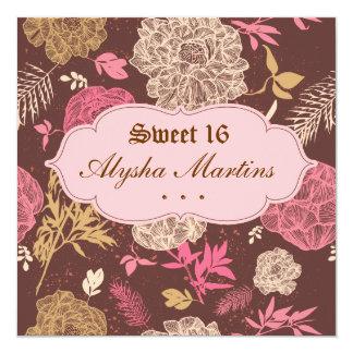Geburtstag Vintages rosa Mit Blumenbrown des Quadratische 13,3 Cm Einladungskarte