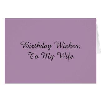 Geburtstag wünscht für eine Ehefrau, auf Grußkarte