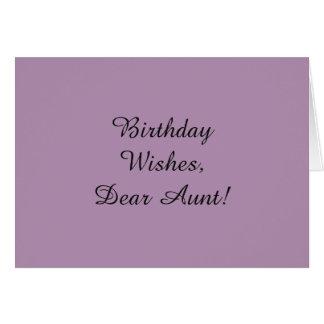 Geburtstag wünscht für eine Tante, Schwarzes auf Grußkarte